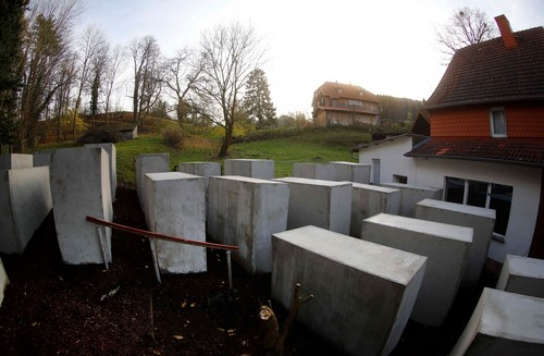 Activists built a Holocaust memorial outside a far-right politician's home in Germany