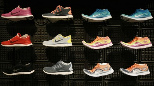 Shoes are displayed at the Nike store in Santa Monica, California, September 25, 2013.