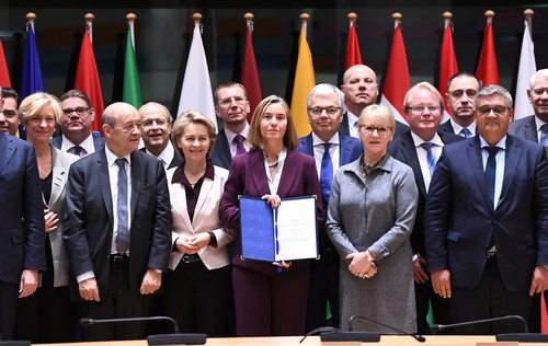 European Union foreign and defence ministers attend a signature ceremony of a defence pact, aiming to mark a new era of European military integration to cement unity after Britain's decision to quit the bloc, in Brussels, Belgium, November 13, 2017. REUTERS/Emmanuel Dunand/Pool - RC1298003910