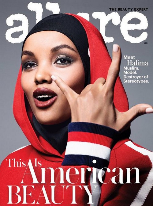 American model Halima Aden, the first model to wear a hijab on the cover of a fashion magazine.
