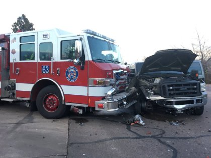 smfd crash 1 via smfd Firefighter, 1 Other Seriously Injured When Fire Truck Collides With Pickup