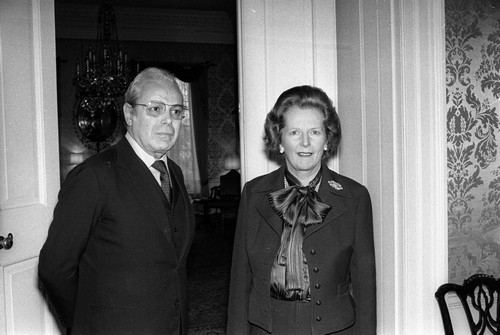 """Former British Prime Minister Margaret Thatcher and leader of the Conservative Party, well known for being the Iron Lady, supposedly wore pussy bows for their """"softening"""" effects."""