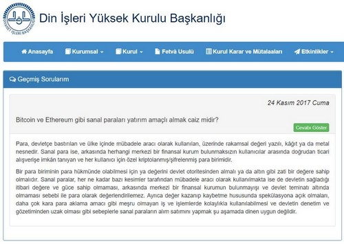 "Turkey Religious Authority: Bitcoin ""Not Appropriate to Buy or Sell"" for Islamic Believers"