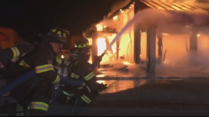Abandoned Building Destroyed In Fire Seen As Health Hazard
