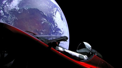 "A view of ""Starman"" in the Tesla Roadster launched into space on the SpaceX Falcon Heavy."