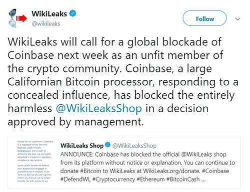 Wikileaks' Coinbase Account Suspended