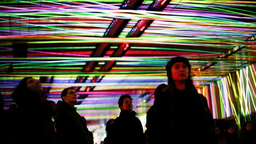 People attend 'Tunnel Visions: Array', an installation of light and sound in the Beech Street tunnel, as part of the Barbican OpenFest, in London, Britain March 17, 2018.