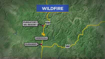 fire near durango 5vomap frame 939 416 Fire Grows In Southern Colorado; Evacuation Orders Still In Place