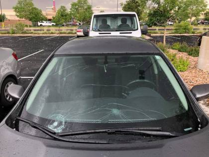 southlands mall windshield credit mykala cueto Another Day Of Storms Brings More Hail, Funnel Cloud