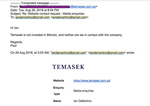 Temasek Was Never in Contact With Bitmain, Is Not Invested