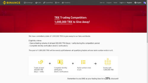 Win 1.000.000 TRX. Binance Announces New TRX Competition