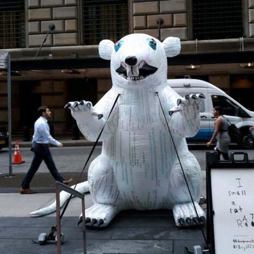 There's A Giant White Sewer Rat In Wall Street And It's Preaching Bitcoin
