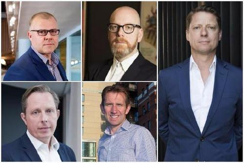 Recent CEO moves: clockwise, from top-left: Ben Fennell, Leo Rayman, Dale Gall, Charlie Rudd and Paul Lawson