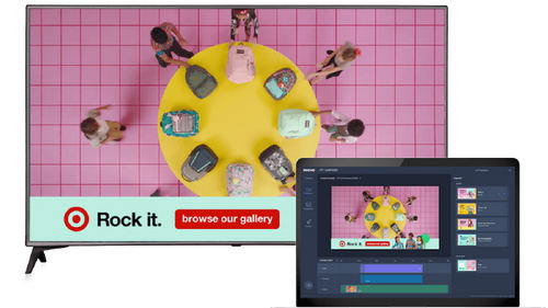 Innovid's OTT Composer screen, along with an interactive ad it created for Target