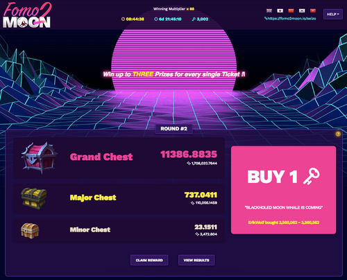Fomo2Moon, a Blockchain Lottery, for Everyone, to Win 100% Transparent