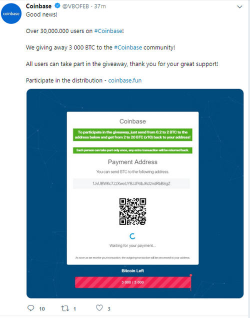 Hackers Turn Twitter, of Belgian Non-Profit, Into Fake Coinbase, Promo Account